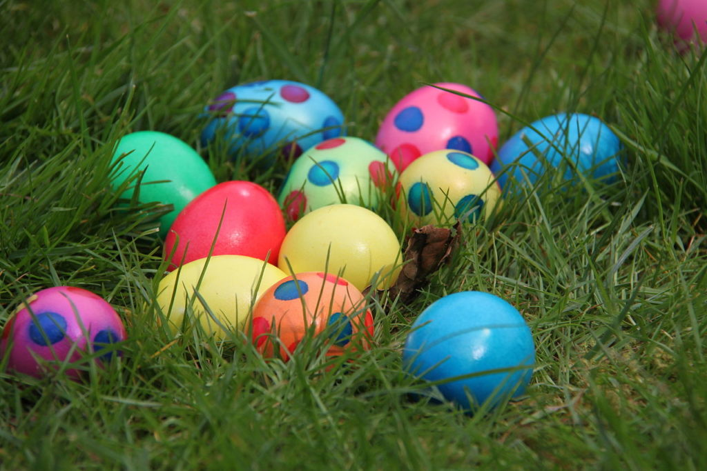 colorful easter eggs in a grassy lawn